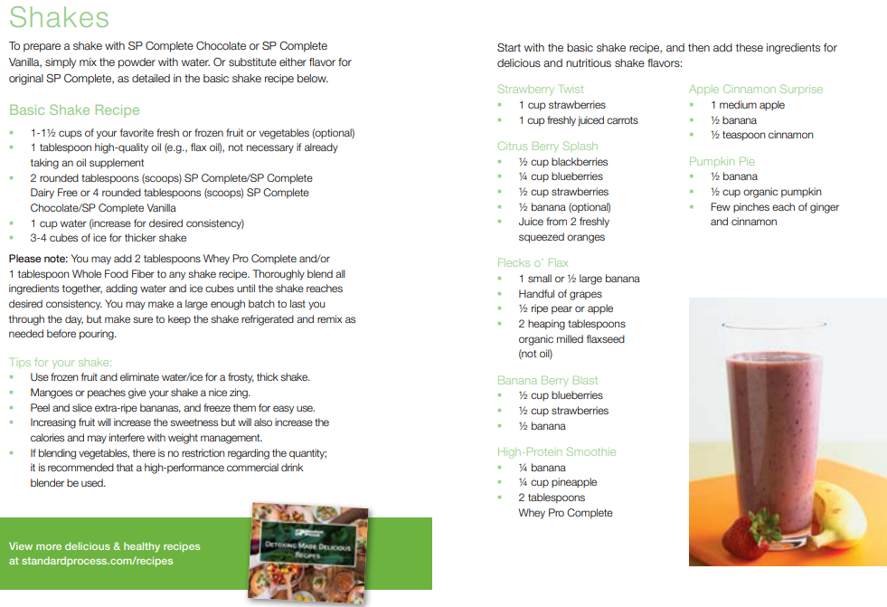 Standard Process 21-Day Cleanse Shake Recipes